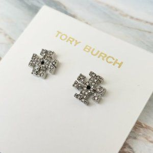tory burch silver signature earrings